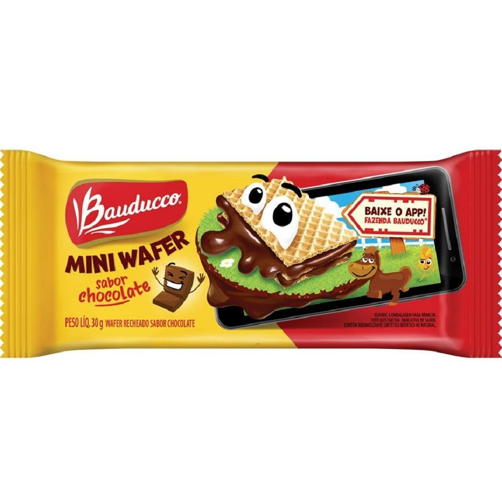 Biscoito Mini Wafer Chocolate 30g 1 UN Bauducco