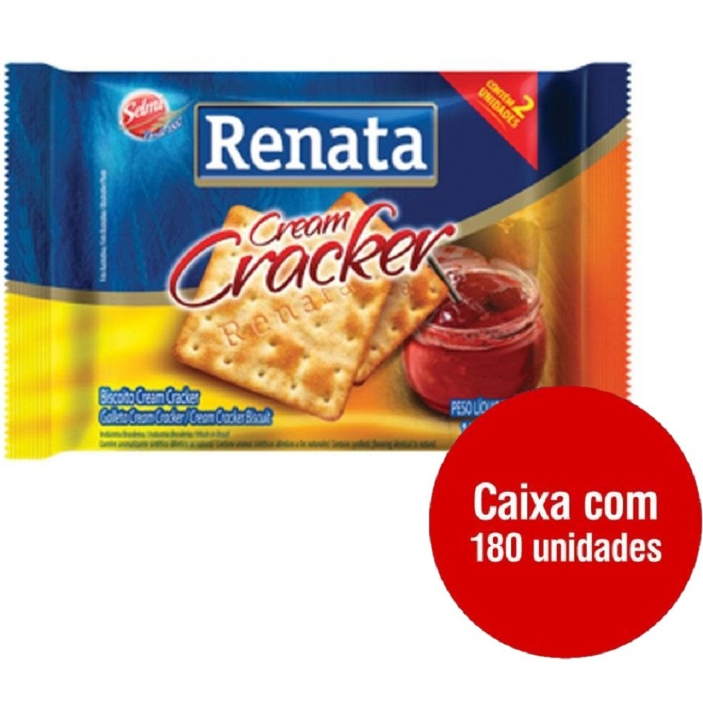 Biscoito Cream Cracker Sachê 11g CX 180 UN Renata