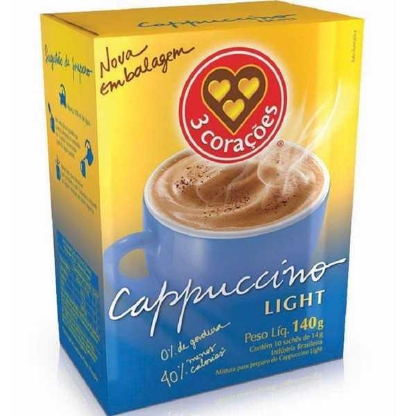 Cappuccino Ligth Sachê 14g CX 10 UN 3 Corações