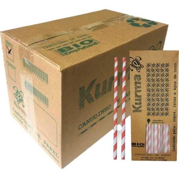 Canudo de Papel Biodegradável para Milk Shake 21cm x 10mm Colorido CX 1000 UN Kurma