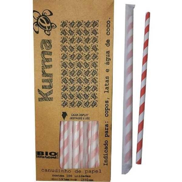 Canudo de Papel Biodegradável para Milk Shake 21cm x 10mm Colorido CX 100 UN Kurma