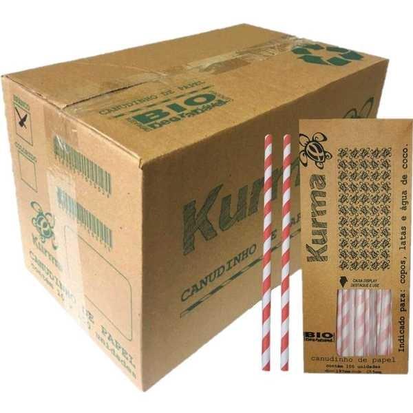 Canudo de Papel Biodegradável para Água e Suco 19,5cm x 5mm Colorido CX 1000 UN Kurma