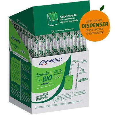 Canudo de Plástico Biodegradável para Água e Suco 19,5cm x 5mm CX 500 UN Strawplast