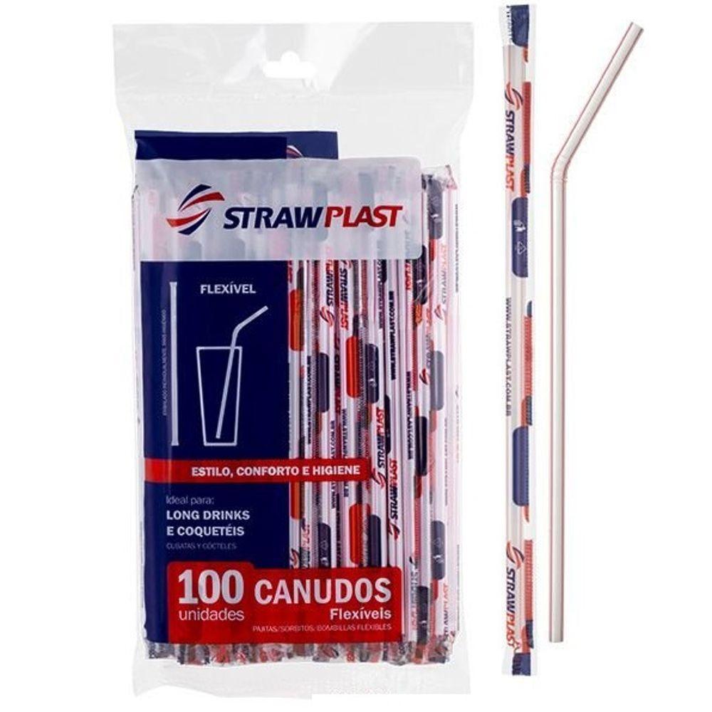 Canudo de Plástico Flexível para Água e Suco 21cm x 6mm Branco PT 100 UN Strawplast