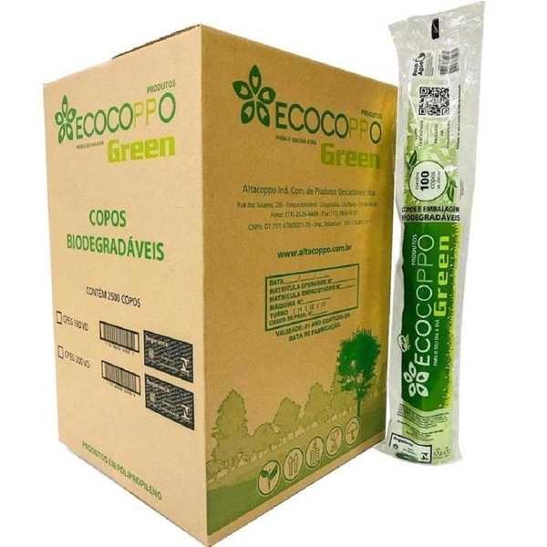 Copo Plástico Biodegradável 180ml Transparente CX 2500 UN Ecocoppo Green