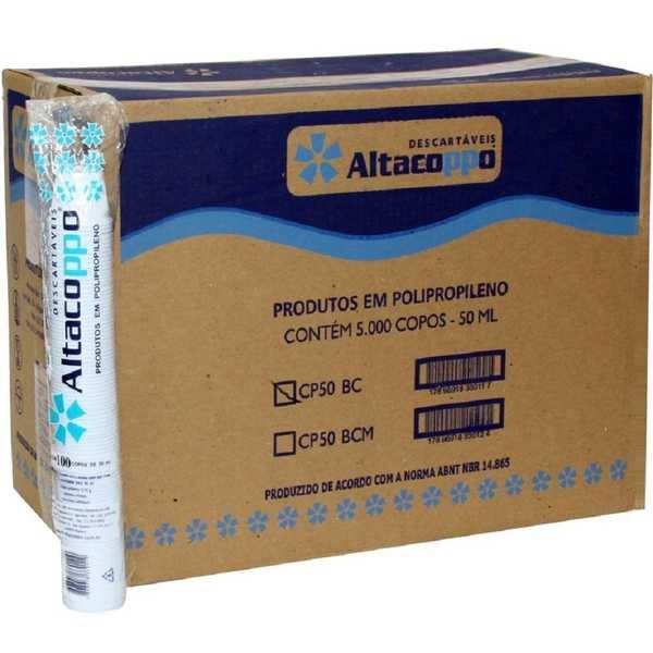 Copo Plástico 50ml Branco CX 5000 UN Altacoppo
