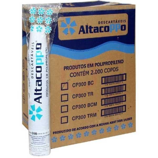 Copo Plástico 300ml Branco CX 2000 UN Altacoppo