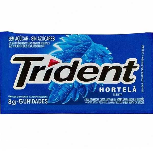 Goma de Mascar Sabor Hortelã sem Açúcar 8g 1 UN Trident