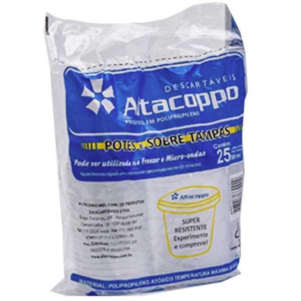 Kit Pote de Plástico com Tampa 250ml PT 25 UN Altacoppo
