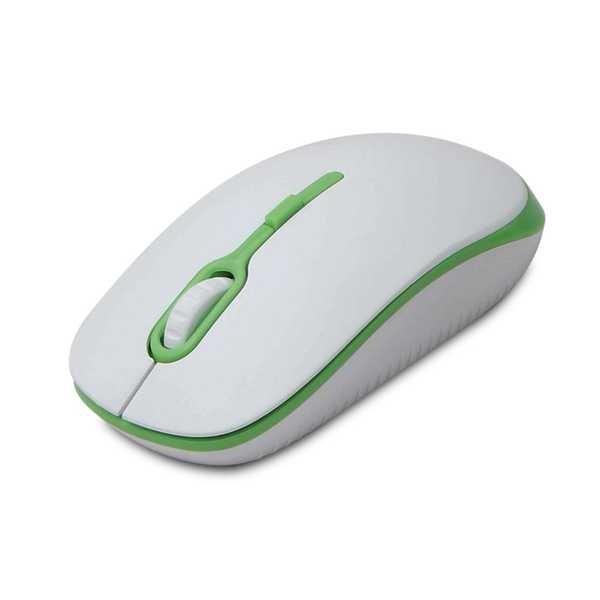 Mouse Ótico Soft 1200DPI Branco e Verde 1 UN Maxprint