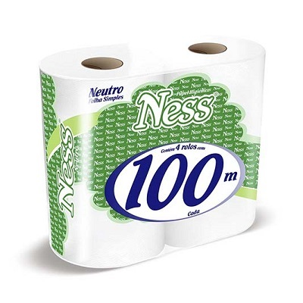 Papel Higiênico Folha Simples Rolão 100m Celulose PT 4 RL Ness