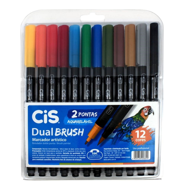 Marcador Artístico Dual Brush 12 Cores Cis