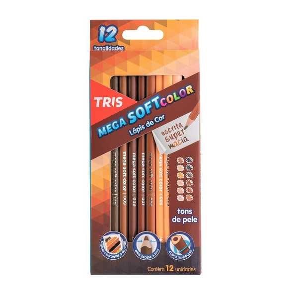 Lápis de Cor Triangular Mega Soft Color Tons de Pele 12 Cores Tris