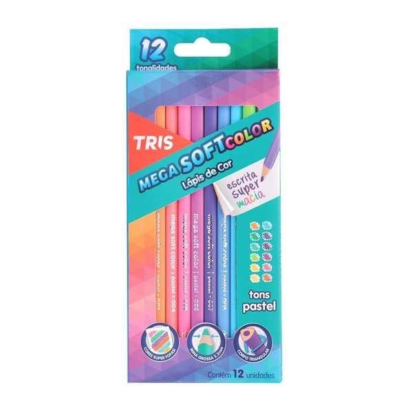 Lápis de Cor Triangular Mega Soft Color Tons Pasteis 12 Cores Tris