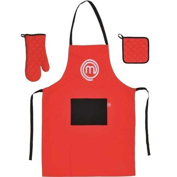 Kit 3 Peças Avental Luva e Porta Panela Vermelho 1 UN MasterChef