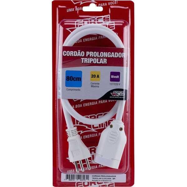 Cordão Prolongador Tripolar 80cm Branco 0173 1 UN Force Line