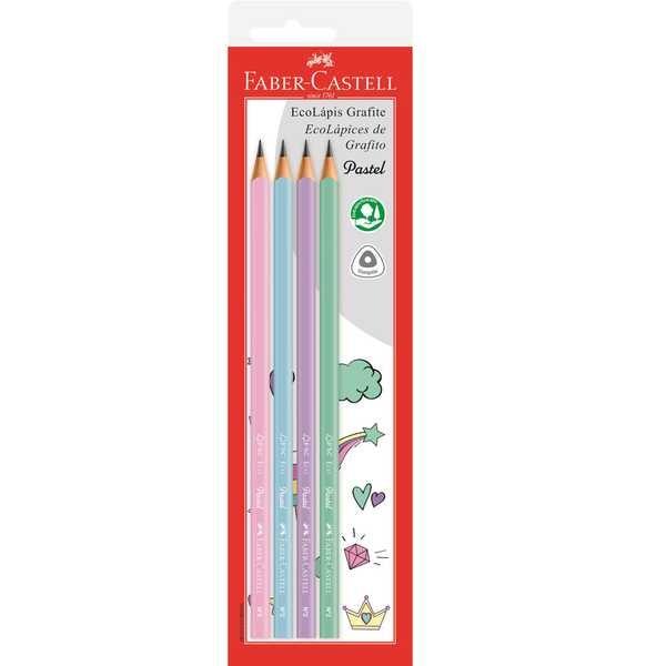Lápis Preto Nº2 Tons Pasteis 4 UN Faber Castell
