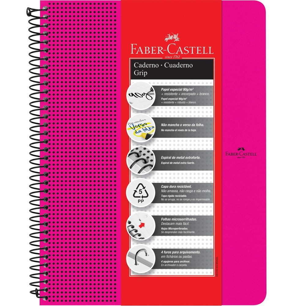 Caderno Universitário Grip Rosa 80 FL 1 UN Faber Castell
