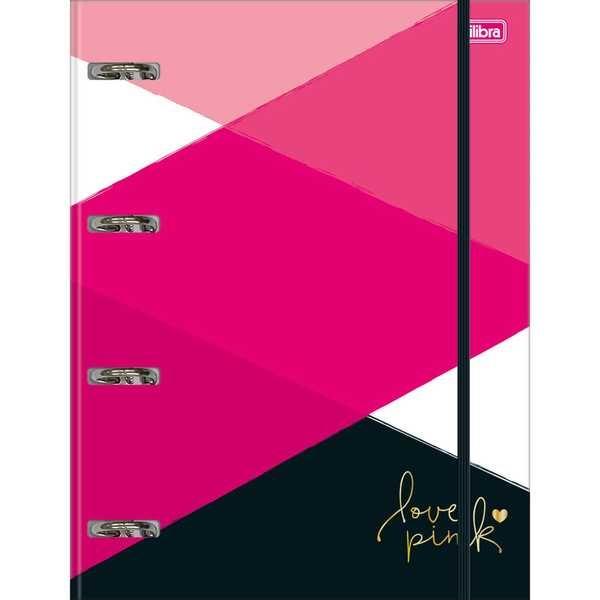 Caderno Argolado Universitário Cartonado com Elástico 80 FL Love Pink 1 UN Tilibra