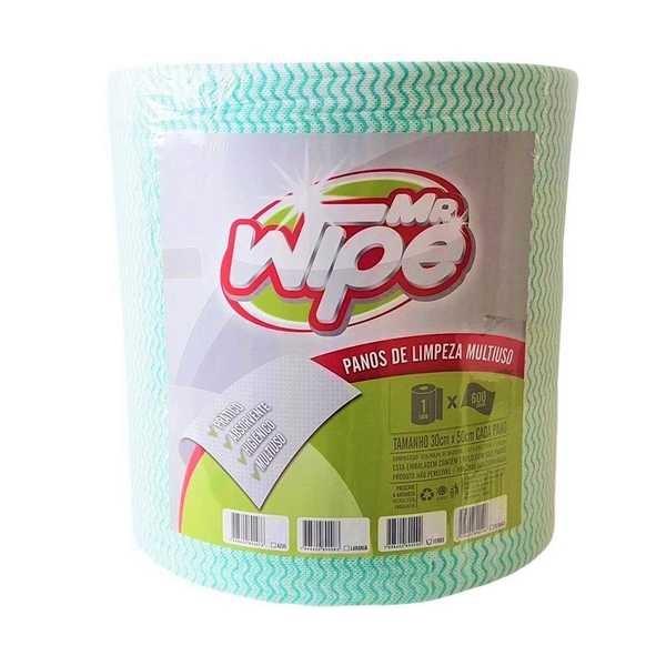 Pano de Limpeza Leve 30x50cm 300m Verde 600 Panos Mr. Wipe