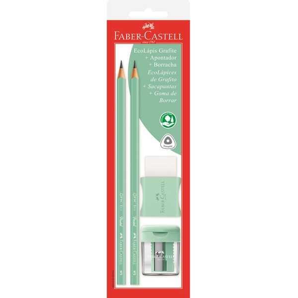 Lápis Preto Nº2 com Apontador e Borracha Verde Pastel 1 UN Faber Castell