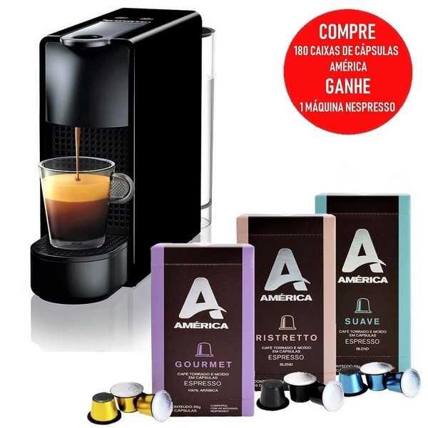 Compre 180 Caixas de Cápsulas Espresso América (60 Gourmet, 60 Ristretto e 60 Suave) e Ganhe 1 Cafeteira Essenza Mini 127V Nespresso