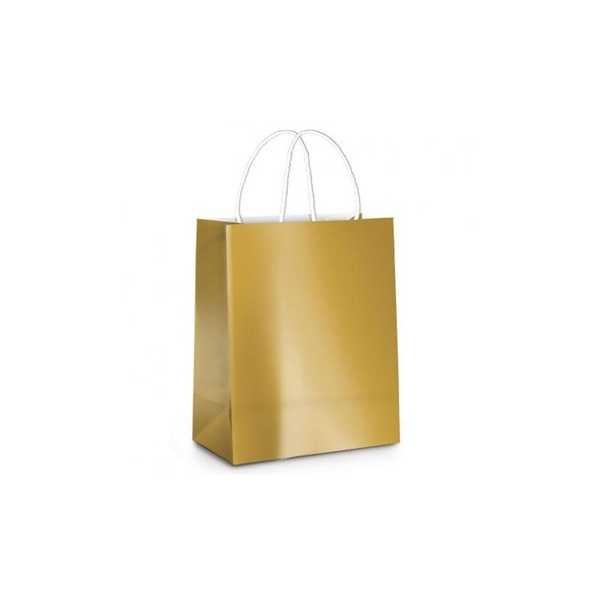 Sacola Metalizada Brilho 21,5 x 15 x 8cm Ouro 14000394 1 UN Cromus