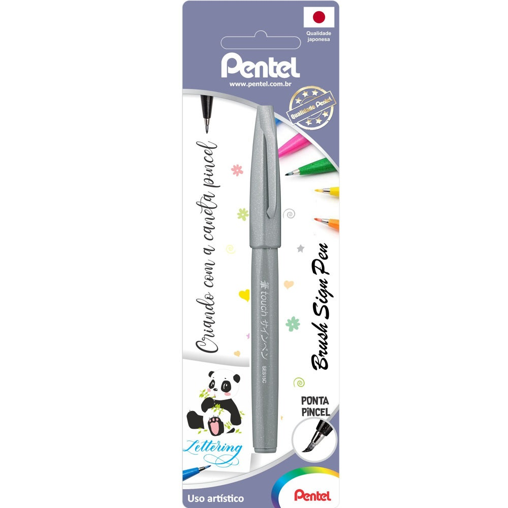 Caneta Brush Sign Pen Prata 1 UN Pentel