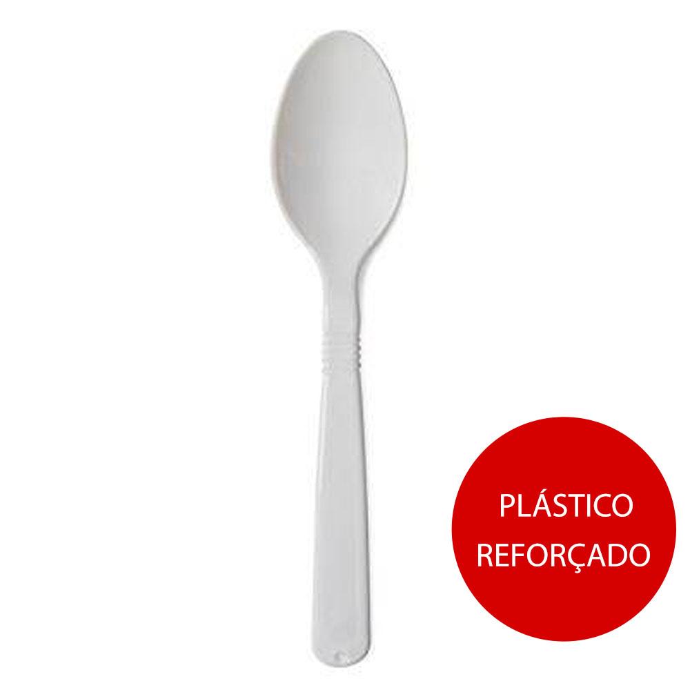 Colher Descartável para Refeição Plástico Reforçado Branco 500 UN Strawplast