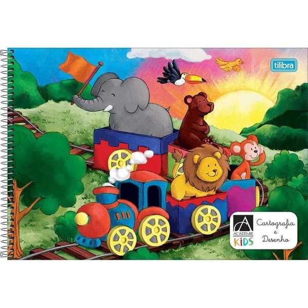 Caderno Cartografia e Desenho Capa Dura Académie Kids 96 Folhas 1 UN Tilibra