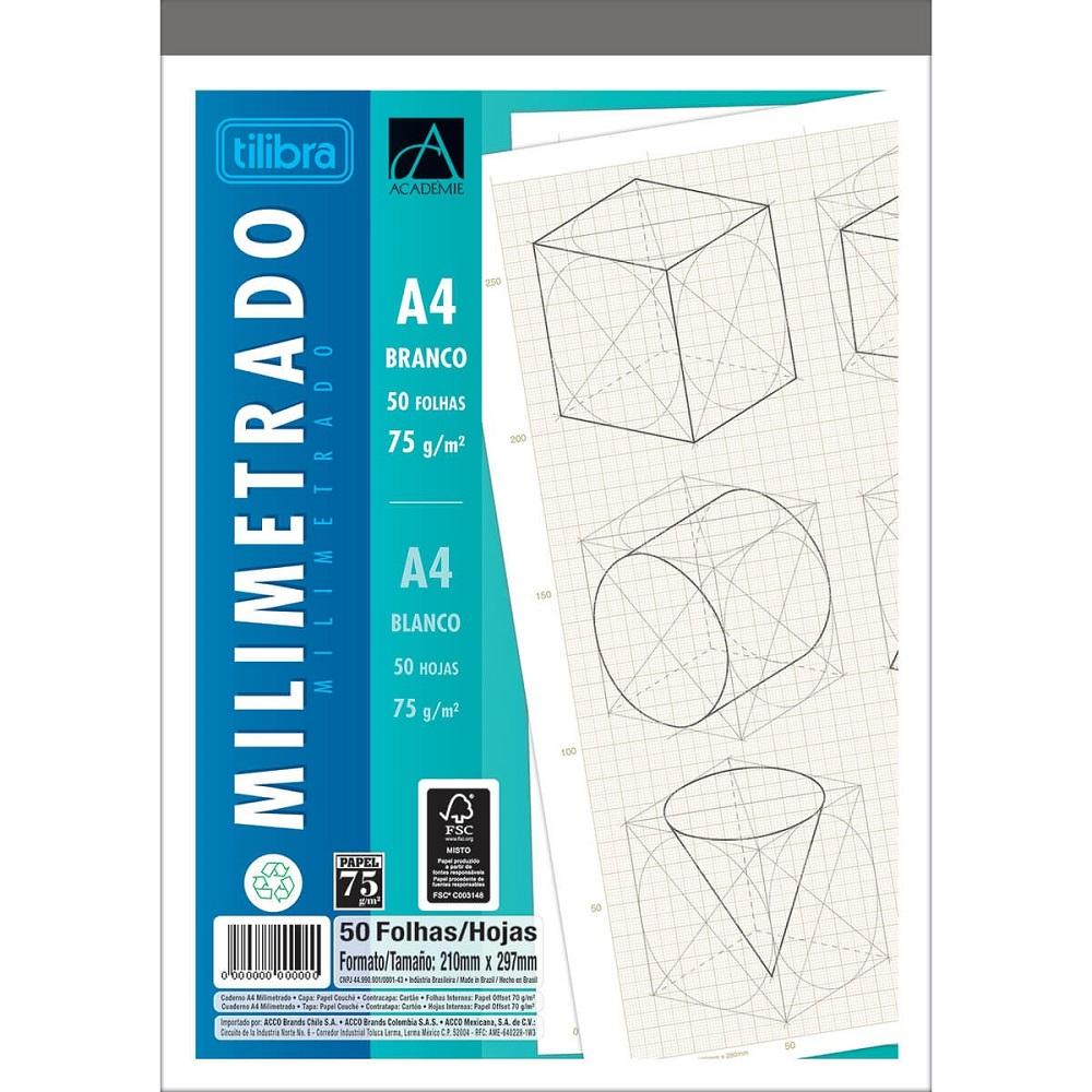 Caderno Colado Milimetrado A4 Branco Académie 50 Folhas 1 UN Tilibra