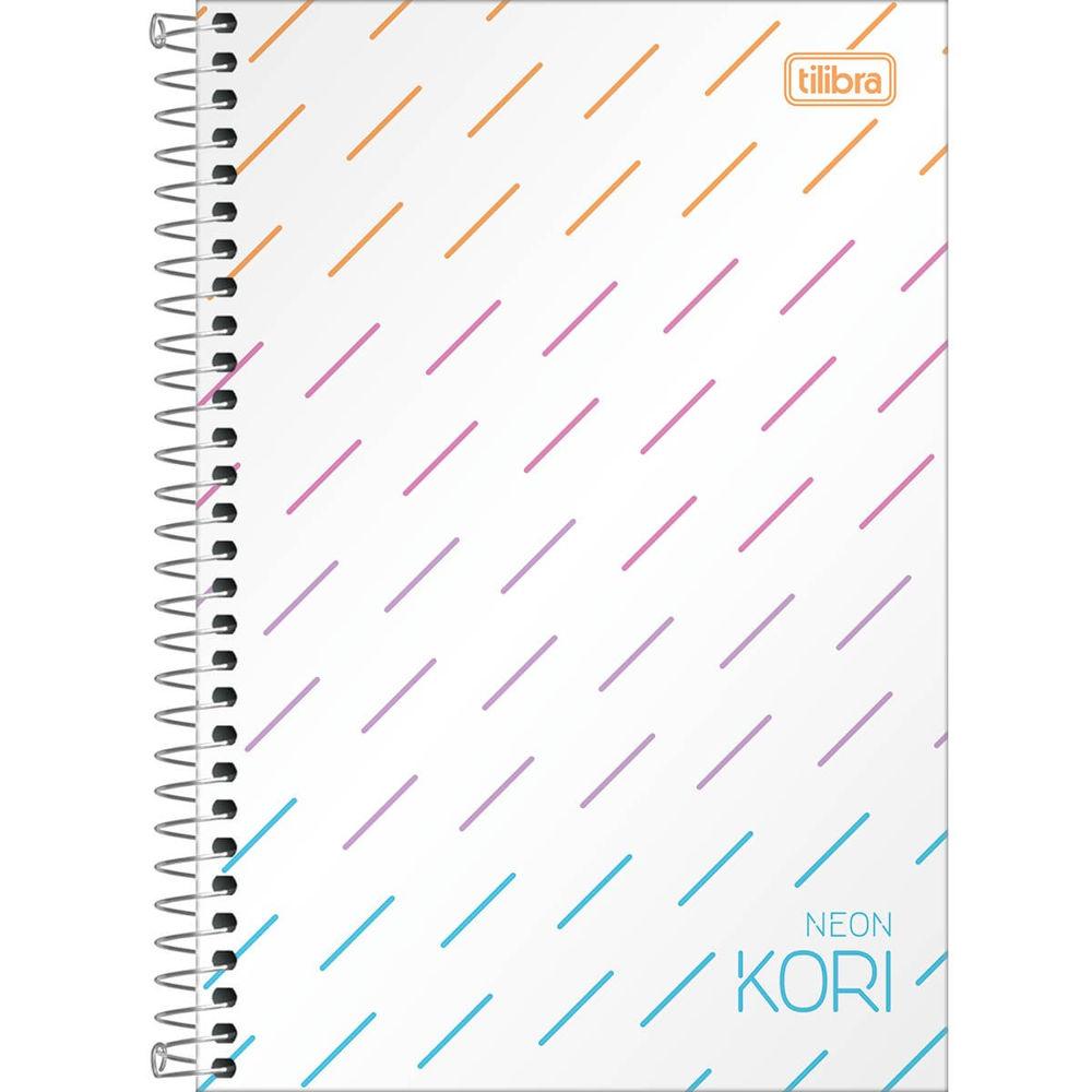 Caderno Espiral Capa Plástica 1/4 sem Pauta Neon Kori 80 FL 1 UN Tilibra