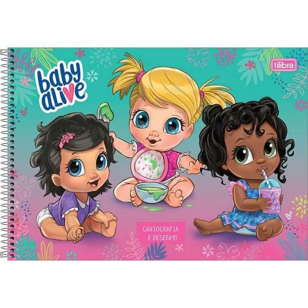 Caderno Cartografia e Desenho Capa Dura 80 FL Baby Alive B 1 UN Tilibra