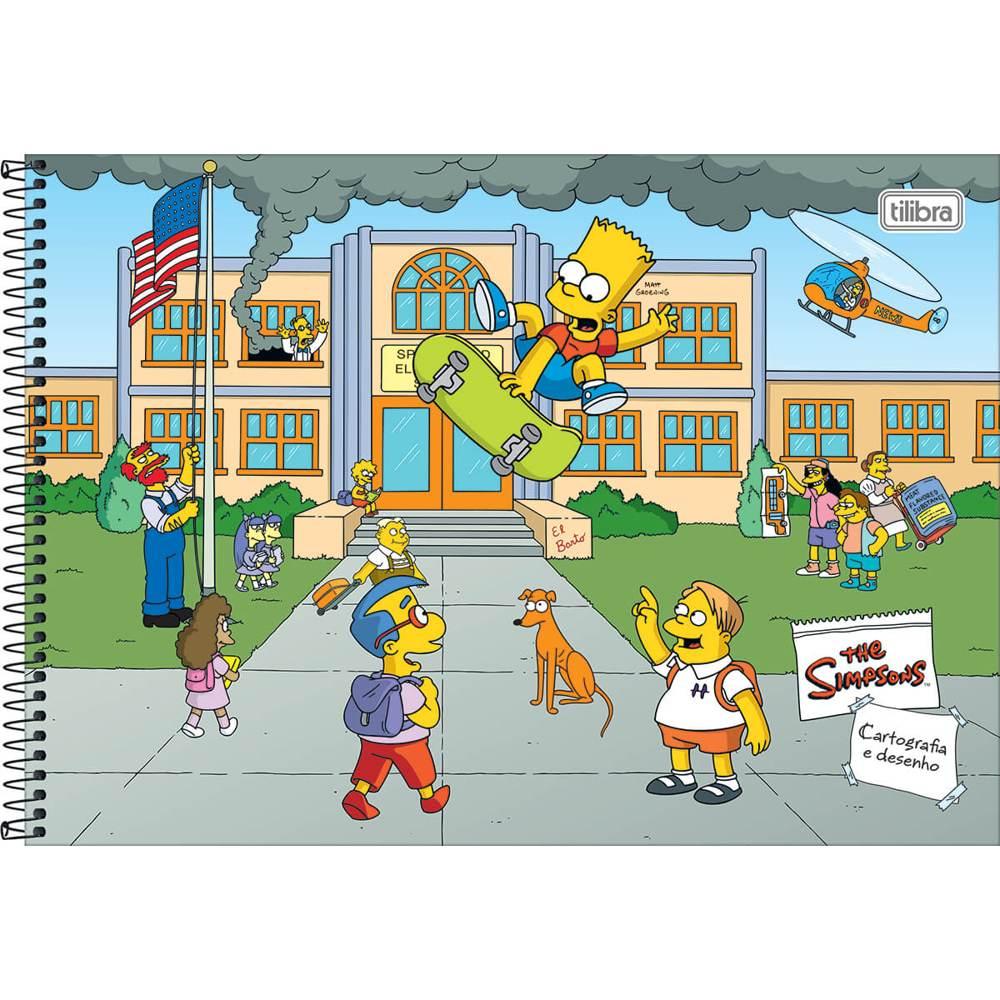 Caderno Cartografia e Desenho Capa Dura 80 FL Simpsons A 1 UN Tilibra