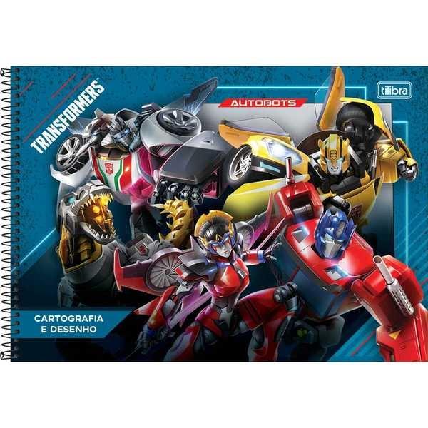 Caderno Cartografia e Desenho Capa Dura 80 FL Transformers B 1 UN Tilibra