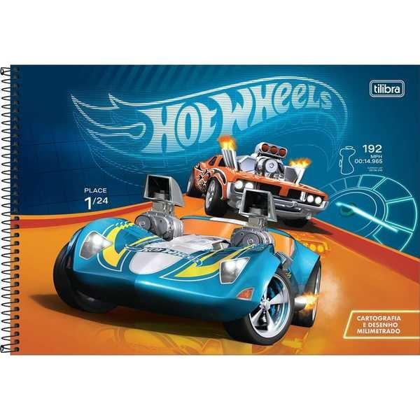 Caderno Cartografia e Desenho Capa Dura 80 FL Hot Wheels A 1 UN Tilibra