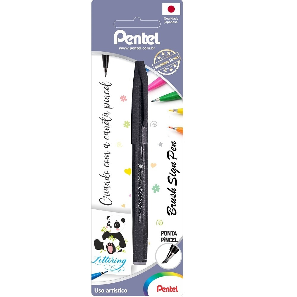 Caneta Brush Sign Pen Preto 1 UN Pentel