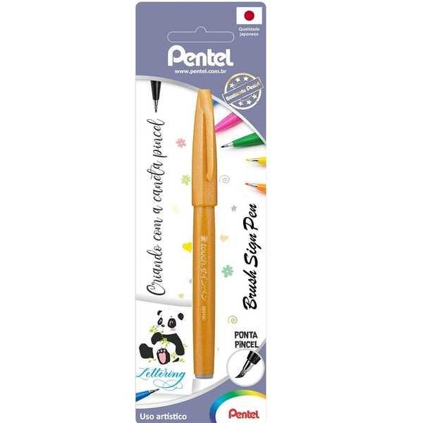 Caneta Brush Sign Pen Ouro 1 UN Pentel