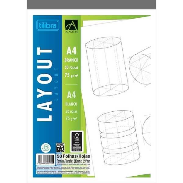 Caderno Colado Layout A4 Branco Académie 50 Folhas 1 UN Tilibra