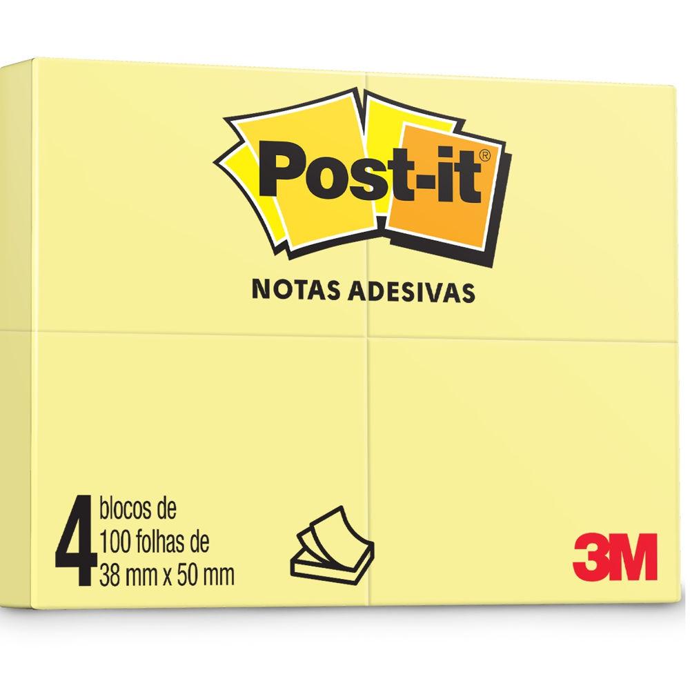 Bloco de Notas Adesivas Amarelo 4 Blocos de 38 mm x 50 mm 100 folhas cada Post-it