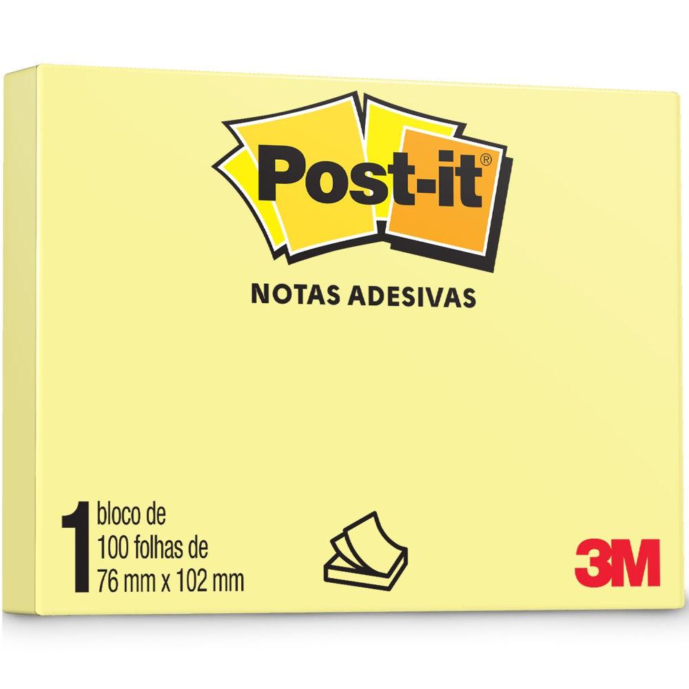 Bloco de Notas Adesivas Amarelo 76 mm x 102 mm 100 folhas Post-it