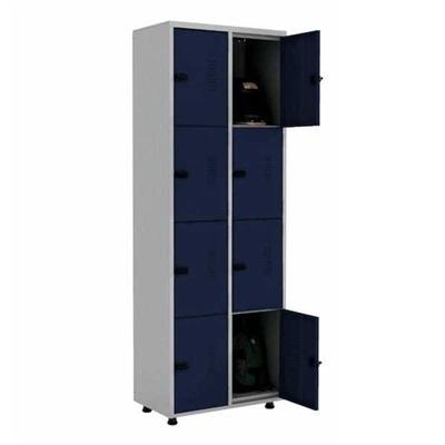 Roupeiro de Aço com Trinco 8 Portas 70x200x40cm Azul e Cinza 1 UN Elite Aço