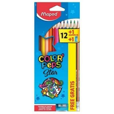 Lápis de Cor Triangular Color Peps Star 12 cores Grátis Lápis e Apontador Maped