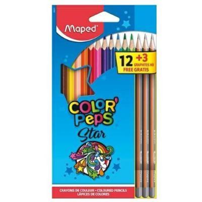 Lápis de Cor Triangular Color Peps Star 12 cores Grátis Lápis Preto Maped