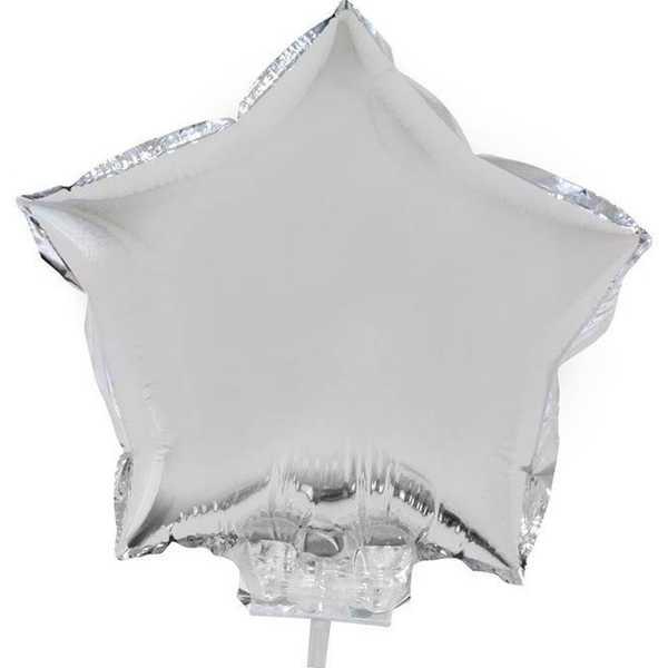 Balão Estrela com Vareta N°11 Prata 1 UN Funny Fashion