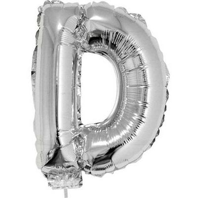 Balão Letra D com Vareta Nº16 Prata 1 UN Funny Fashion