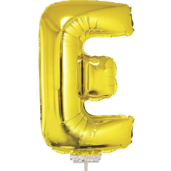 Balão Letra E com Vareta Nº16 Ouro 1 UN Funny Fashion