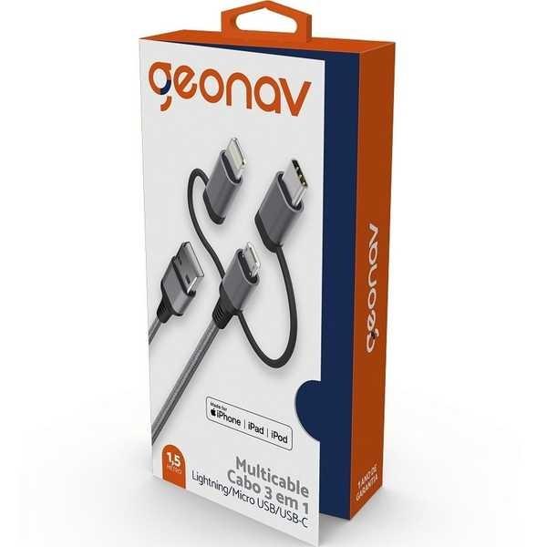 Cabo 3 em 1 Lightning Micro USB e USB-C Nylon Cinza 1 UN Geonav