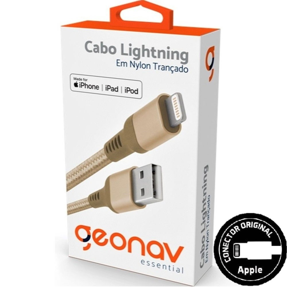Cabo Lightning USB para iPhone iPad iPod Nylon 1m Gold 1 UN Geonav