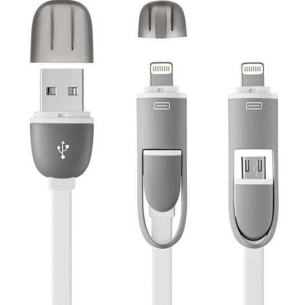 Cabo 2 em 1 Micro USB e iPhone 5 6 6 e 7 Branco 1 UN Multilaser